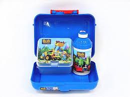 bob builder blue lunch box pop straw bottle