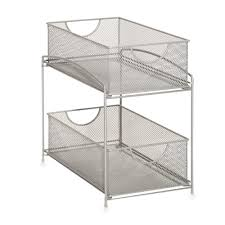 Bed Bath And Beyond Dish Rack Org 2 Tier Mesh Double Sliding Cabinet Basket In Silver Interior