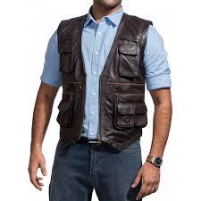 mens leather motorcycle vest chris pratt jurassic world vest jurassic world owen vest black