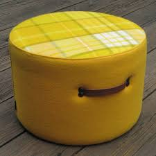 furniture yellow ottoman round with stripped pattern on top fileove