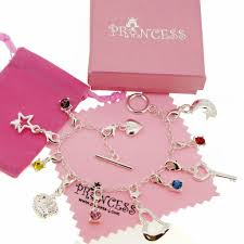 fashion jewelry charm bracelet images Silver plated charm bracelet with 11 crystal charms for kids teen jpeg