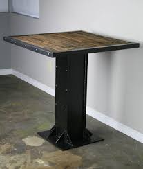 Reclaimed Wood Bistro Table Custom Made Bistro Dining Table Modern Industrial Design Steel