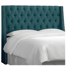 King Size Padded Headboard Skyline Furniture Nail Button Tufted Wingback Shantung Fabric King