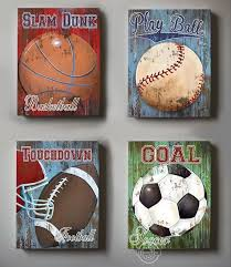 sports bedroom decor wall decor sports set of 4 canvas art sports room decor canvas