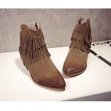 Brown Fringe Ankle Boots Vintage Nubuck Leather Fringe Ankle Boots With Chunky Heel For