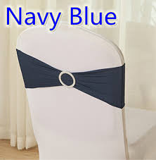 wholesale chair sashes navy blue colour spandex wedding chair sashes with buckles