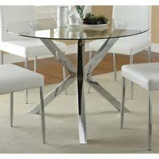 chrome round dining table coaster vance contemporary glass top round dining table in chrome ebay