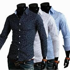 2017 2015 new autumn casual shirts men print polka dot long sleeve