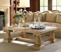 Custom Living Room Furniture Classical Carved Rustic Wood Coffee Table Retro Classic High