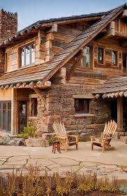 Patio Half Wall Magnificent Half Log Home Designs Using Stacked Stone Veneer For