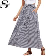 cotton skirt sheinside grey pinstripe maxi skirt button up casual women self