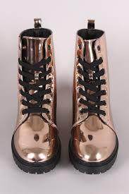 s qupid boots qupid metallic patent combat lace up ankle boots fashion democrat
