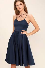 lovely navy blue dress strappy dress midi dress fit and