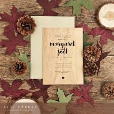 wood veneer wedding invitation with matching envelope three