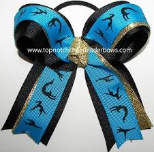 ribbon for hair that says gymnastics sparkly blue gymnastics ponytail bow bulk gymnastics blue gold hair