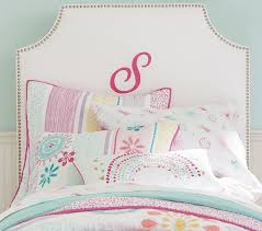 Twin Bed Upholstered Headboard by Personalized Sylvia Upholstered Bed U0026 Headboard Pottery Barn Kids