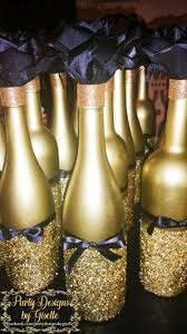 diy black u0026 gold centerpieces spray painted wine bottles mod