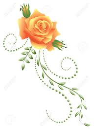 yellow flower tattoos yellow rose with green floral ornament royalty free cliparts