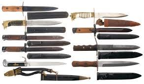 lot of nine italian daggers bayonets and knives