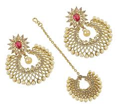 design of earrings buy muchmore gold plated made set of earring with maang