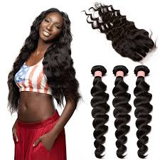 short hairstyles with closures brazilian virgin human hair extensions loose wave 3 bundles with 1