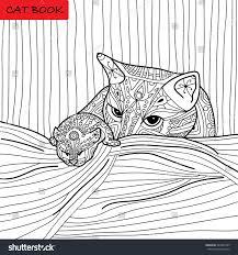 cat mother her kitten coloring book stock vector 387854785