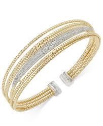 multi tone gold bracelet images Lyst macy 39 s diamond multi layer two tone open cuff bracelet 1 2 jpeg