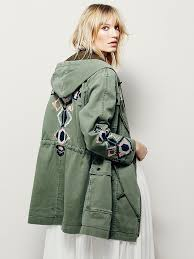 Free People Parka Free People Embroidered Twill Parka In Green Lyst