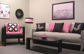 Easy Home Decorating Pleasant Black And Pink Living Room Marvelous Home Decorating