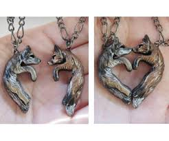 couple love heart necklace images Wolf and fox love necklace his and hers heart kissing couple jpg
