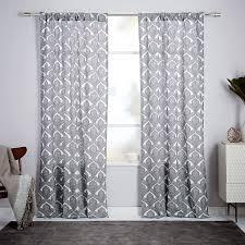 Bristol Curtains Cotton Canvas Fleur Printed Curtain Stone White West Elm