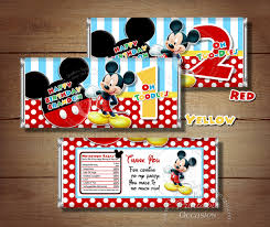 mickey mouse candy bar wrapper to match digital invitations