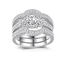 silver rings set images Classic round cut white sapphire 925 sterling silver women 39 s jpg