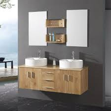 Mirror With Shelves by Long Light Brown Wooden Vanity With Drawers On The Middle Of