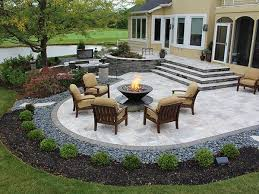 Back Yard Or Backyard Stairs Firepit Paver Patio With Travertine Back Yards Patio