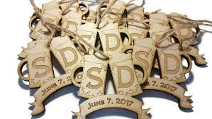 Personalized Wedding Ornament Lot Of 10 Wood Laser Cut Etched Engraved Wedding Date Initials
