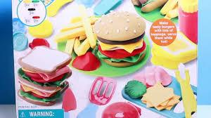 Toy Kitchen Set Food Dough Burger Deli Set Play Doh Hamburger Dog French Fries