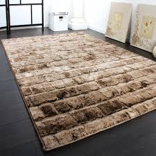 edler designer teppich mit steinwand optik in grau schwarz meliert - Designer Teppich