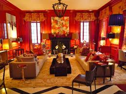 energetic asian interior design style of red bedroom with chinese