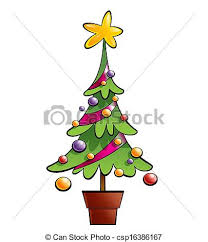 stock illustration of christmas colourful pine tree decorated with