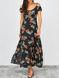 summer dress 2018 cold shoulder floral print slit maxi summer dress multicolor