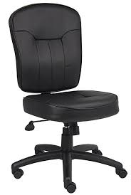 leather desk chair no arms amazon com boss leather adjustable task chair without arms black