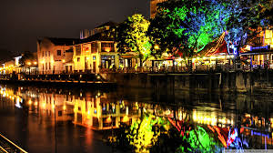Colorful City Houses Colorful City River Night Lights Restaurant Wallpaper Hd