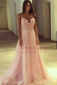 cheap tulle spaghetti straps v neck pink prom dress cheap 2018 lace tulle