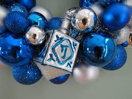 hanukkah wreath ornament wreath with dreidel blue and silver