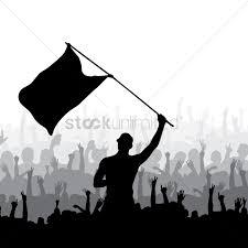 Waving Flag Artist Man Waving Flag And Crowd Cheering Vector Image 2002221