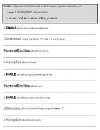 simile metaphor personification alliteration packet test by