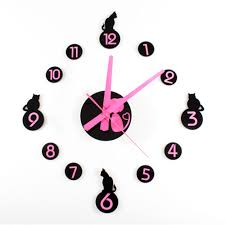 wall cat clock promotion shop for promotional diy cat wall clock cute kittens stickers home decor watch bedroom for kids