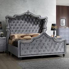 Tufted Headboard King Meridian Furniture Hudson Canopy K Hudson Grey Velvet King Canopy