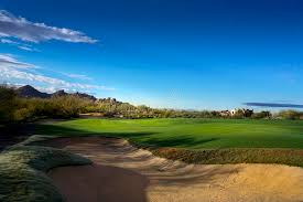 mountain backdrop fairway of beautiful arizona golf course mountain backdrop stock